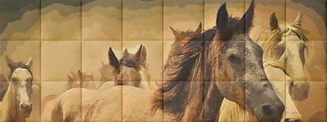 Nyomtatott műbőr falvédő - Horses