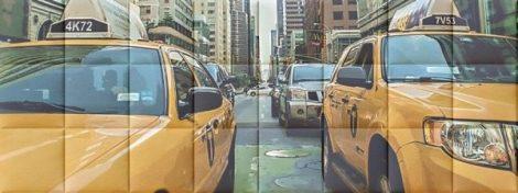 Nyomtatott műbőr falvédő - Taxi